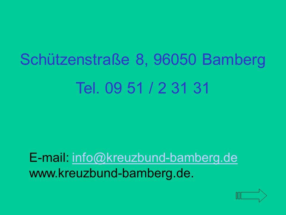 Die Gruppen treffen sich wöchentlich: Bamberg Gruppe I und II am Freitag und Mittwoch von 19.30 bis 21.00 h