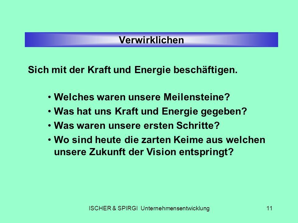 ISCHER & SPIRGI Unternehmensentwicklung11 Verwirklichen Sich mit der Kraft und Energie beschäftigen. Welches waren unsere Meilensteine? Was hat uns Kr