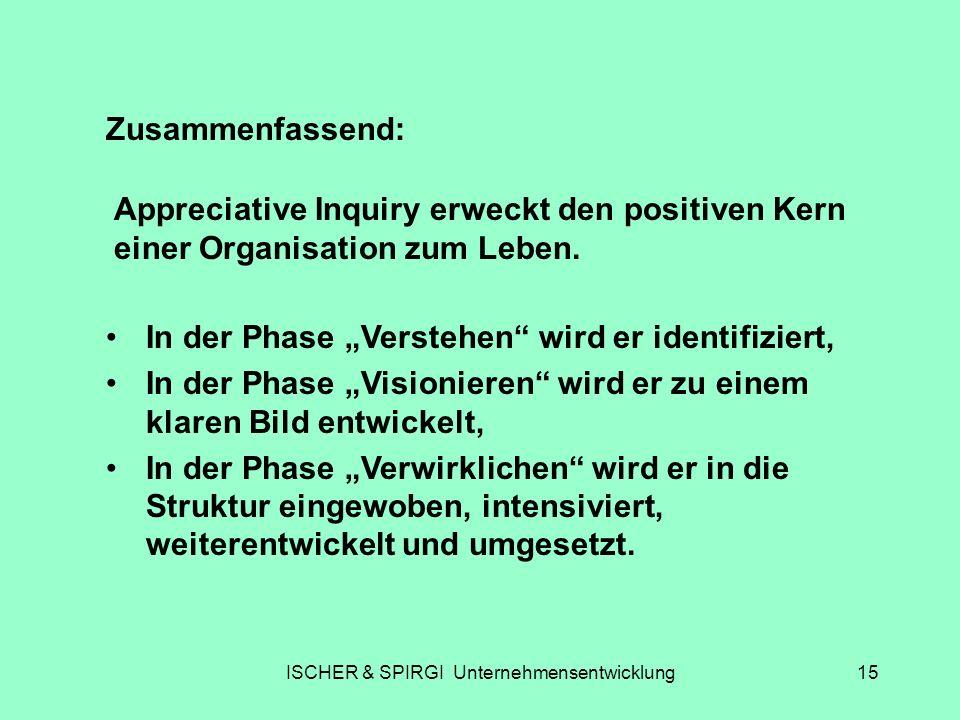 ISCHER & SPIRGI Unternehmensentwicklung15 Zusammenfassend: Appreciative Inquiry erweckt den positiven Kern einer Organisation zum Leben. In der Phase