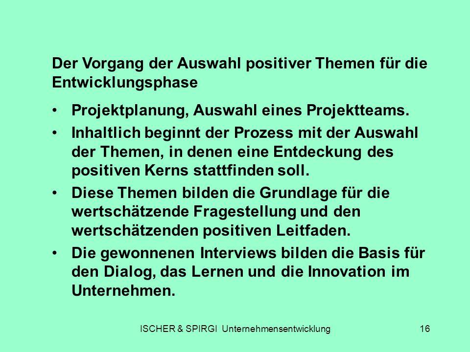 ISCHER & SPIRGI Unternehmensentwicklung16 Der Vorgang der Auswahl positiver Themen für die Entwicklungsphase Projektplanung, Auswahl eines Projektteam