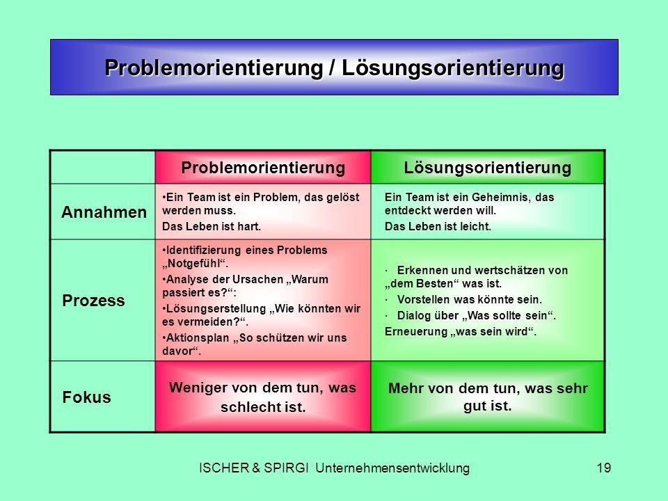 ISCHER & SPIRGI Unternehmensentwicklung19 Problemorientierung / Lösungsorientierung ProblemorientierungLösungsorientierung Annahmen Ein Team ist ein P