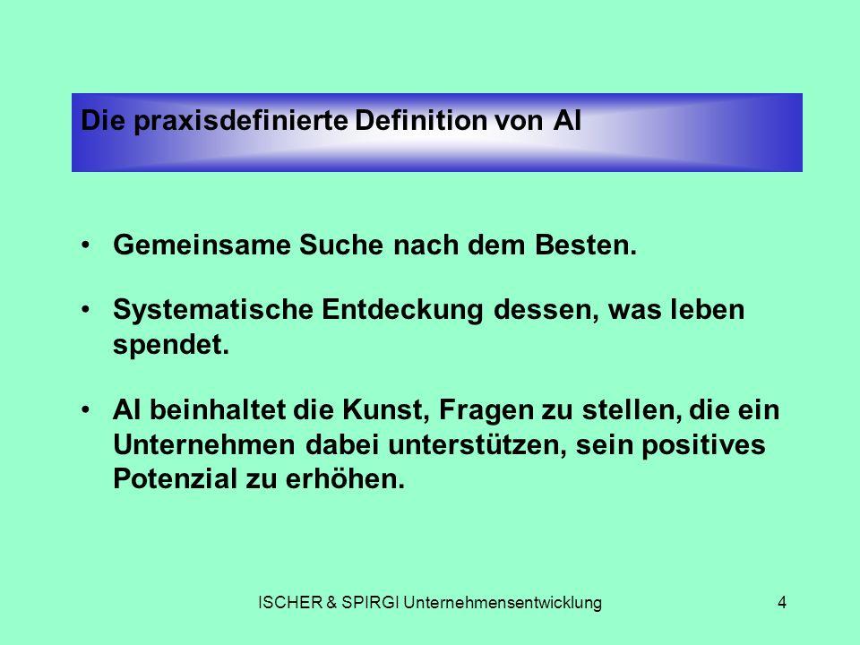 ISCHER & SPIRGI Unternehmensentwicklung4 Die praxisdefinierte Definition von AI Gemeinsame Suche nach dem Besten. Systematische Entdeckung dessen, was