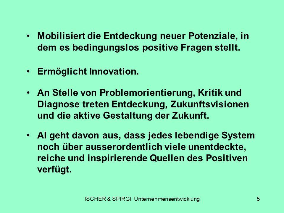 ISCHER & SPIRGI Unternehmensentwicklung5 Mobilisiert die Entdeckung neuer Potenziale, in dem es bedingungslos positive Fragen stellt. An Stelle von Pr