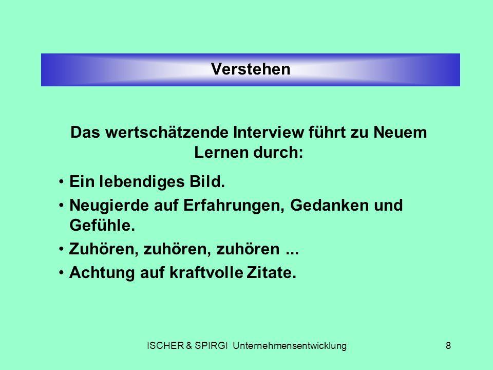 ISCHER & SPIRGI Unternehmensentwicklung8 Verstehen Das wertschätzende Interview führt zu Neuem Lernen durch: Ein lebendiges Bild. Neugierde auf Erfahr