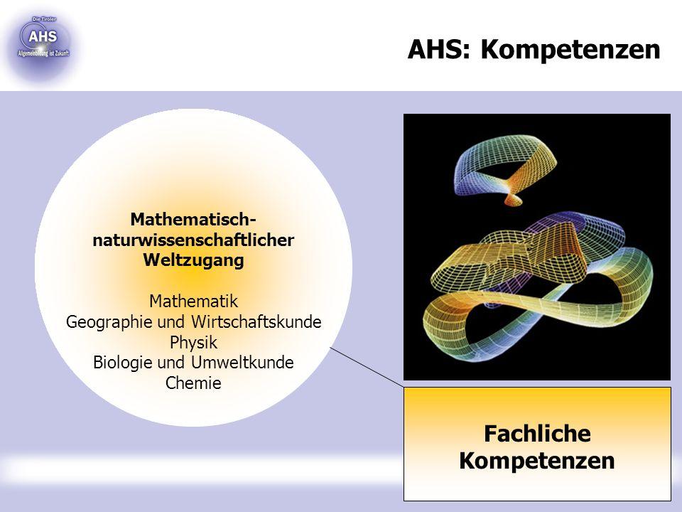 AHS: Kompetenzen Fachliche Kompetenzen Mathematisch- naturwissenschaftlicher Weltzugang Mathematik Geographie und Wirtschaftskunde Physik Biologie und