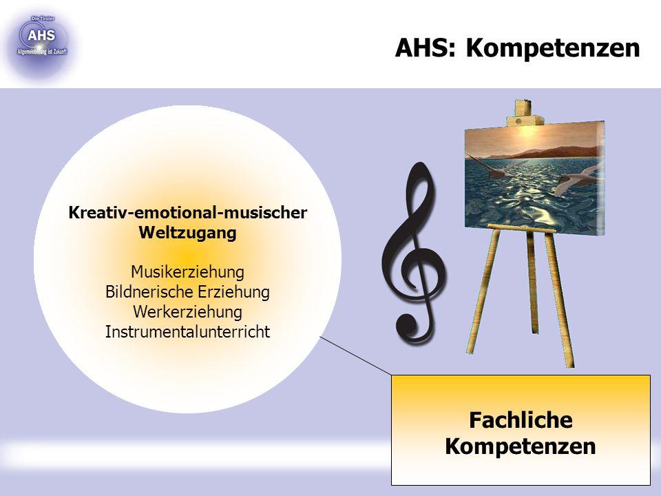 AHS: Kompetenzen Fachliche Kompetenzen Kreativ-emotional-musischer Weltzugang Musikerziehung Bildnerische Erziehung Werkerziehung Instrumentalunterric