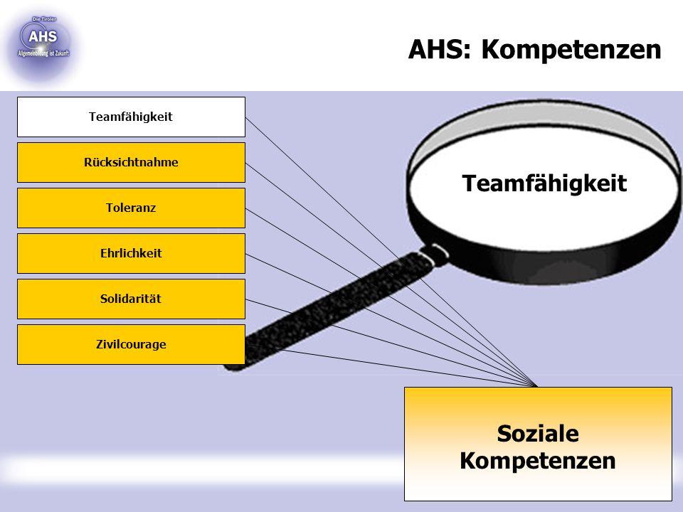 Teamfähigkeit AHS: Kompetenzen Soziale Kompetenzen Teamfähigkeit Rücksichtnahme Toleranz Ehrlichkeit Solidarität Zivilcourage