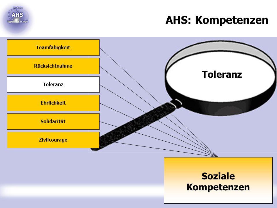 Toleranz AHS: Kompetenzen Soziale Kompetenzen Teamfähigkeit Rücksichtnahme Toleranz Ehrlichkeit Solidarität Zivilcourage