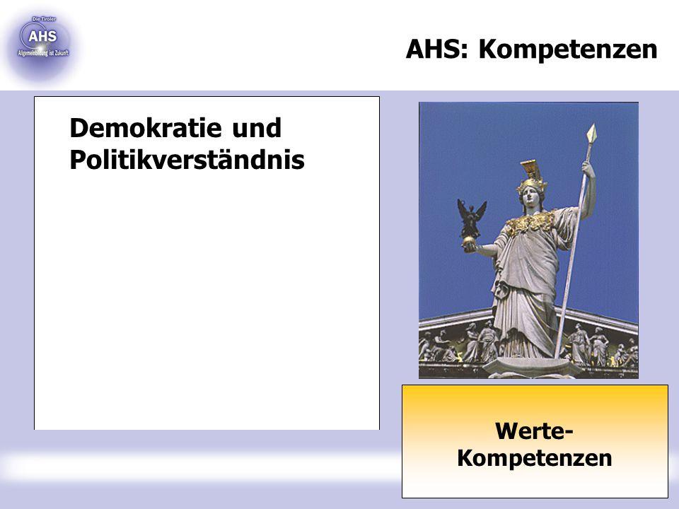 AHS: Kompetenzen Werte- Kompetenzen Demokratie und Politikverständnis