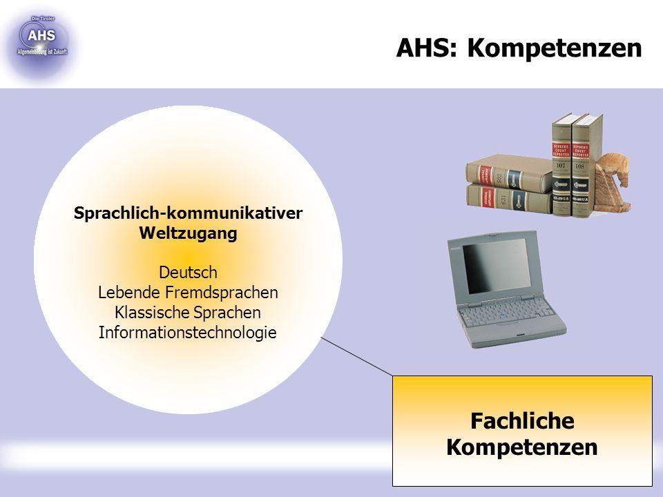 AHS: Kompetenzen Fachliche Kompetenzen Sprachlich-kommunikativer Weltzugang Deutsch Lebende Fremdsprachen Klassische Sprachen Informationstechnologie