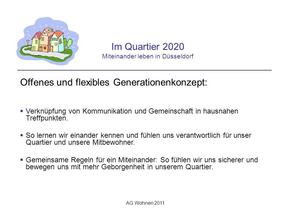 AG Wohnen 2011 Im Quartier 2020 Miteinander leben in Düsseldorf Offenes und flexibles Generationenkonzept: Verknüpfung von Kommunikation und Gemeinschaft in hausnahen Treffpunkten.
