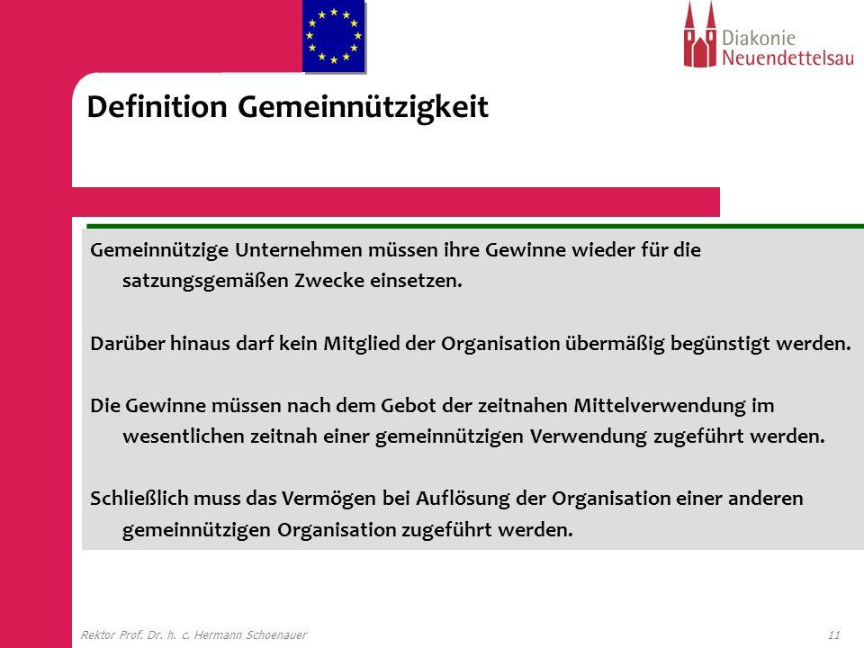11Rektor Prof. Dr. h. c. Hermann Schoenauer Definition Gemeinnützigkeit Gemeinnützige Unternehmen müssen ihre Gewinne wieder für die satzungsgemäßen Z