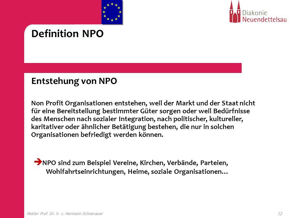 12Rektor Prof. Dr. h. c. Hermann Schoenauer Entstehung von NPO Non Profit Organisationen entstehen, weil der Markt und der Staat nicht für eine Bereit