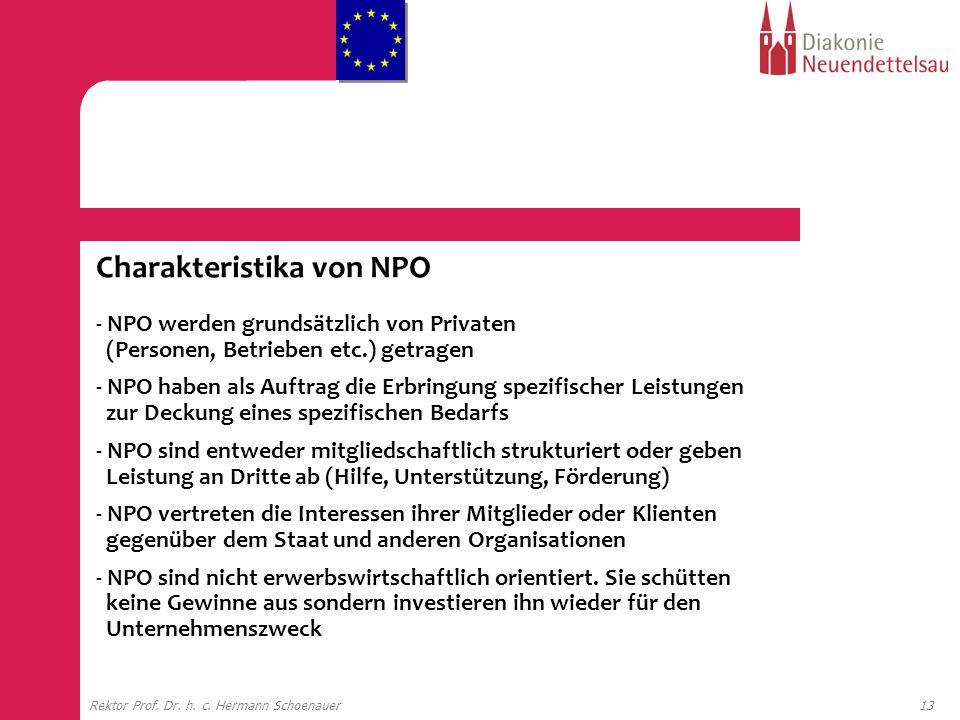 13Rektor Prof. Dr. h. c. Hermann Schoenauer Charakteristika von NPO - NPO werden grundsätzlich von Privaten (Personen, Betrieben etc.) getragen - NPO