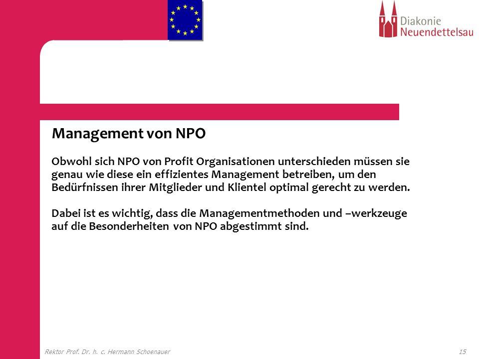 15Rektor Prof. Dr. h. c. Hermann Schoenauer Management von NPO Obwohl sich NPO von Profit Organisationen unterschieden müssen sie genau wie diese ein