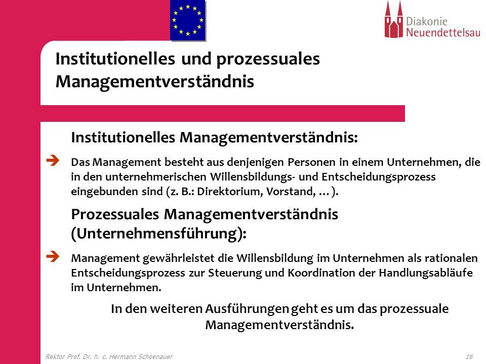16Rektor Prof. Dr. h. c. Hermann Schoenauer Institutionelles Managementverständnis: Das Management besteht aus denjenigen Personen in einem Unternehme