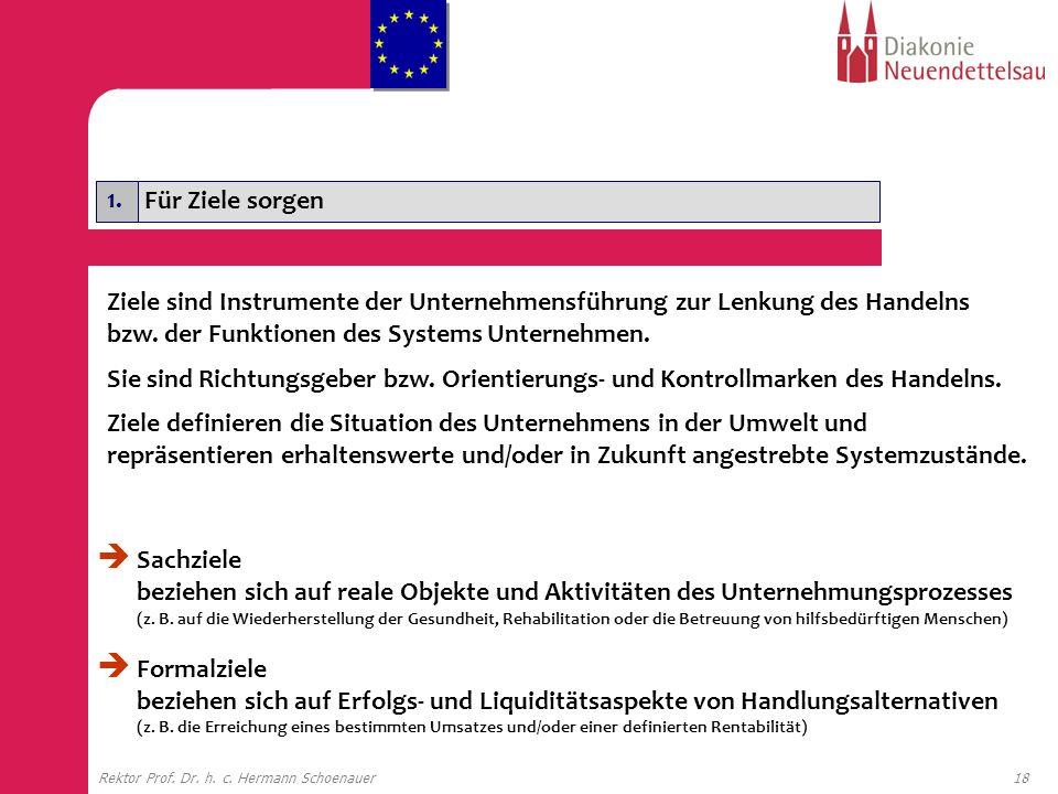 18Rektor Prof. Dr. h. c. Hermann Schoenauer 1. Für Ziele sorgen Ziele sind Instrumente der Unternehmensführung zur Lenkung des Handelns bzw. der Funkt