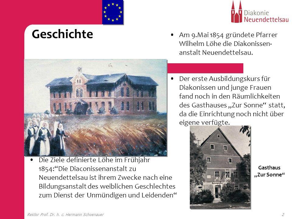 2Rektor Prof. Dr. h. c. Hermann Schoenauer Gasthaus Zur Sonne Am 9.Mai 1854 gründete Pfarrer Wilhelm Löhe die Diakonissen- anstalt Neuendettelsau. Der