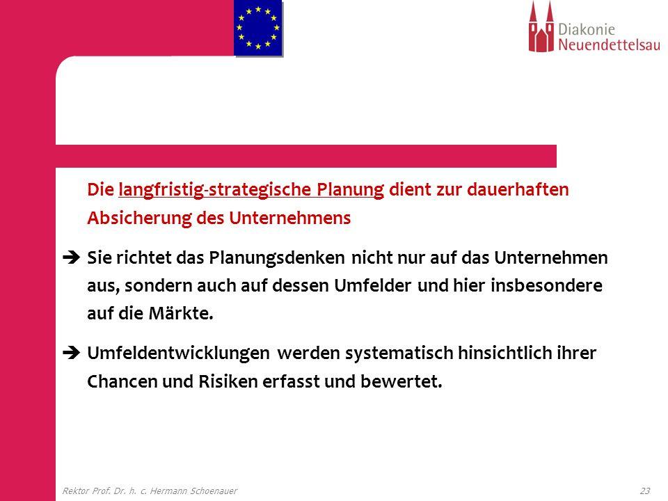 23Rektor Prof. Dr. h. c. Hermann Schoenauer Die langfristig-strategische Planung dient zur dauerhaften Absicherung des Unternehmens Sie richtet das Pl