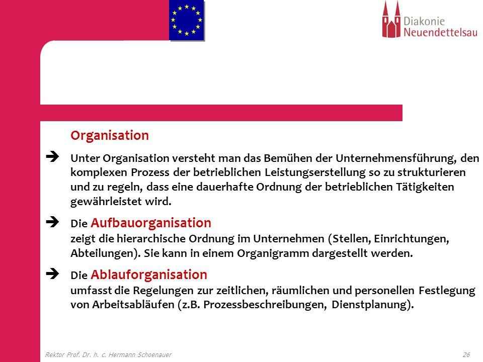 26Rektor Prof. Dr. h. c. Hermann Schoenauer Organisation Unter Organisation versteht man das Bemühen der Unternehmensführung, den komplexen Prozess de