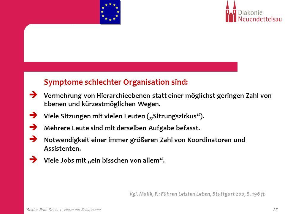 27Rektor Prof. Dr. h. c. Hermann Schoenauer Symptome schlechter Organisation sind: Vermehrung von Hierarchieebenen statt einer möglichst geringen Zahl