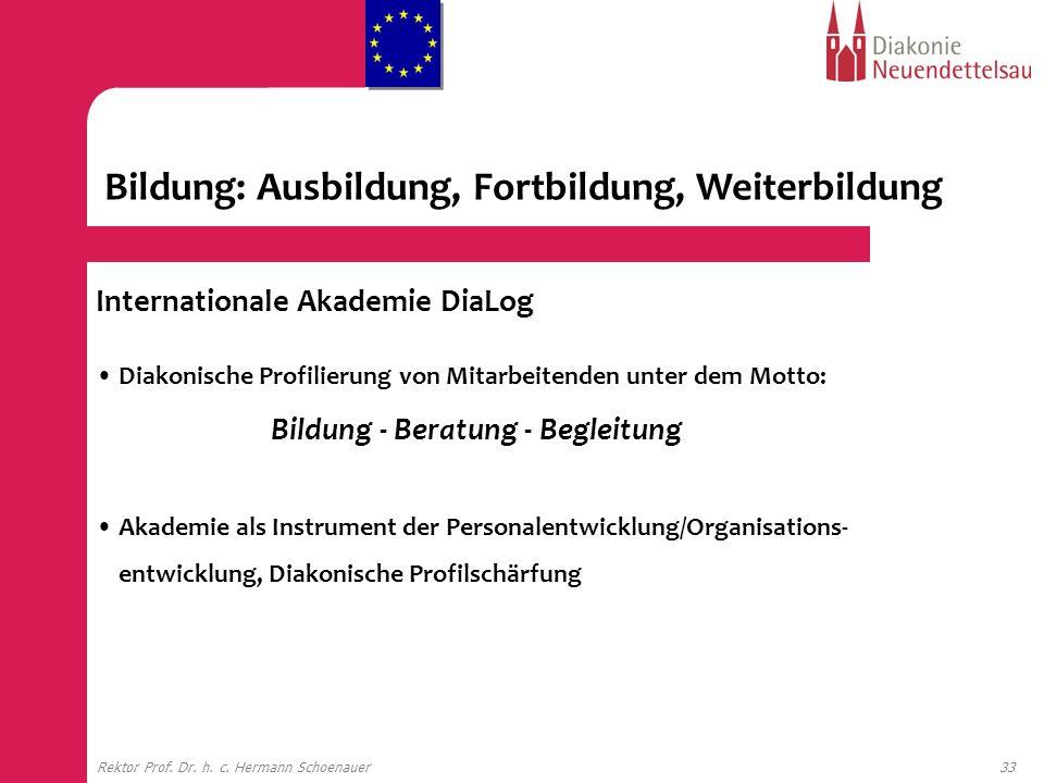 33Rektor Prof. Dr. h. c. Hermann Schoenauer Internationale Akademie DiaLog Diakonische Profilierung von Mitarbeitenden unter dem Motto: Bildung - Bera