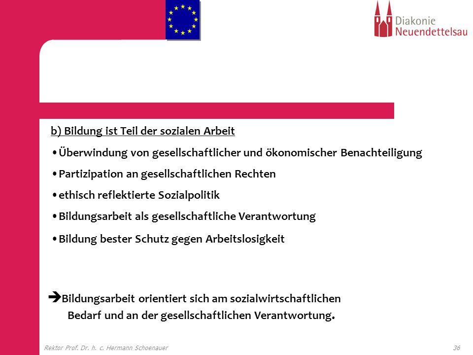 36Rektor Prof. Dr. h. c. Hermann Schoenauer b) Bildung ist Teil der sozialen Arbeit Überwindung von gesellschaftlicher und ökonomischer Benachteiligun