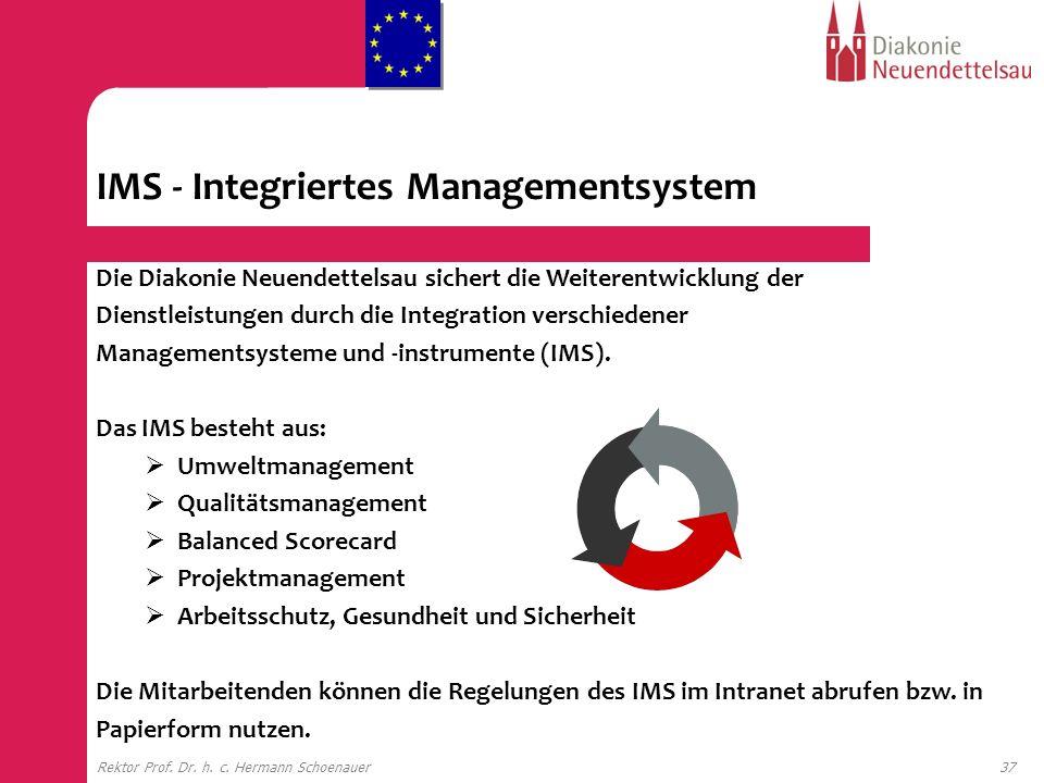 37Rektor Prof. Dr. h. c. Hermann Schoenauer Die Diakonie Neuendettelsau sichert die Weiterentwicklung der Dienstleistungen durch die Integration versc