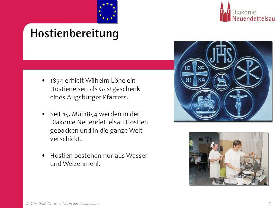 7Rektor Prof. Dr. h. c. Hermann Schoenauer 1854 erhielt Wilhelm Löhe ein Hostieneisen als Gastgeschenk eines Augsburger Pfarrers. Seit 15. Mai 1854 we