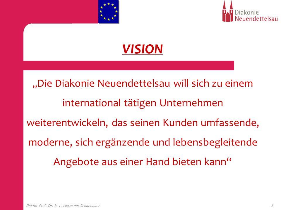 8Rektor Prof. Dr. h. c. Hermann Schoenauer VISION Die Diakonie Neuendettelsau will sich zu einem international tätigen Unternehmen weiterentwickeln, d
