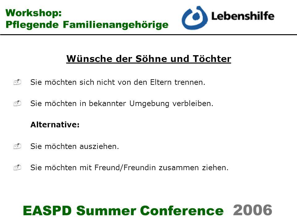 EASPD Summer Conference 2006 Workshop: Pflegende Familienangehörige Wünsche der Söhne und Töchter Sie möchten sich nicht von den Eltern trennen. Sie m