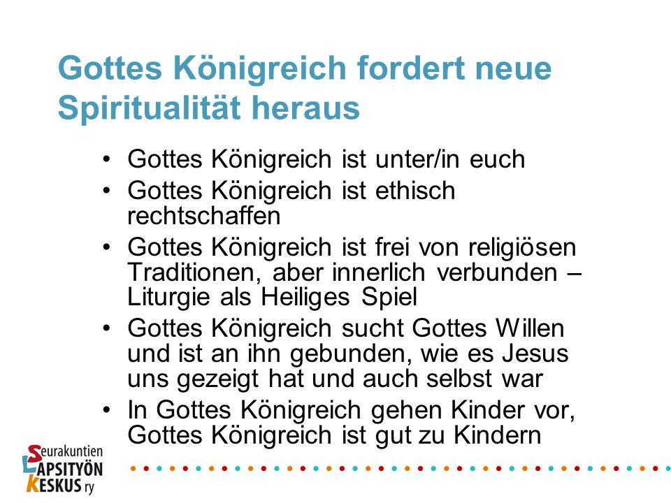 Gottes Königreich fordert neue Spiritualität heraus Gottes Königreich ist unter/in euch Gottes Königreich ist ethisch rechtschaffen Gottes Königreich
