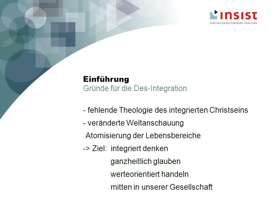 Einführung Integration (1) Integriertes Christsein beginnt mit einer persönlichen Beziehung zu Jesus Christus.
