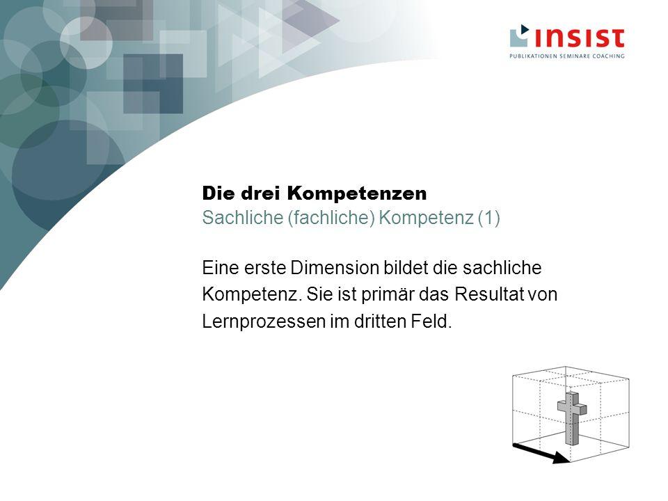 Die drei Kompetenzen Sachliche (fachliche) Kompetenz (1) Eine erste Dimension bildet die sachliche Kompetenz.