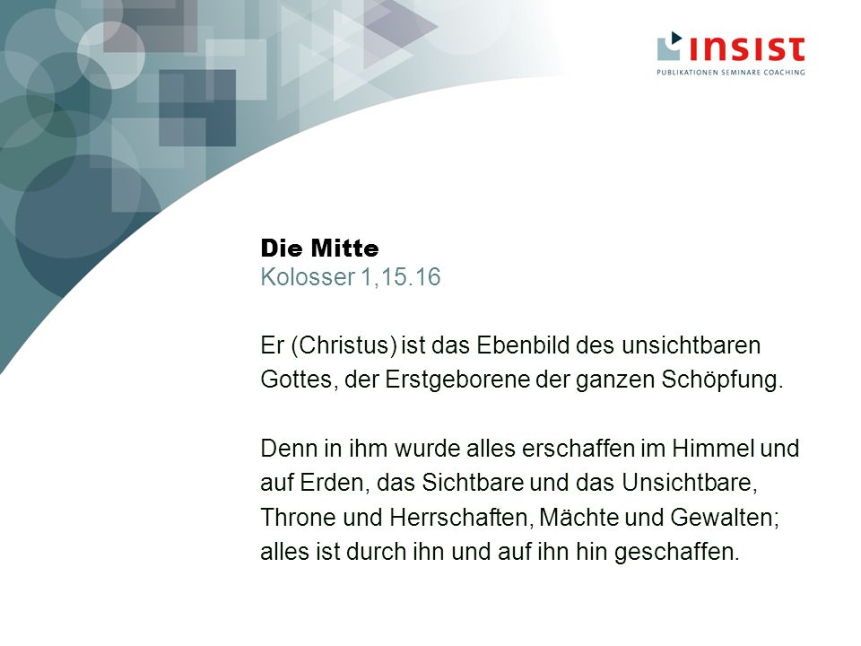 Einführung ins integrierte Christsein Was bleibt.