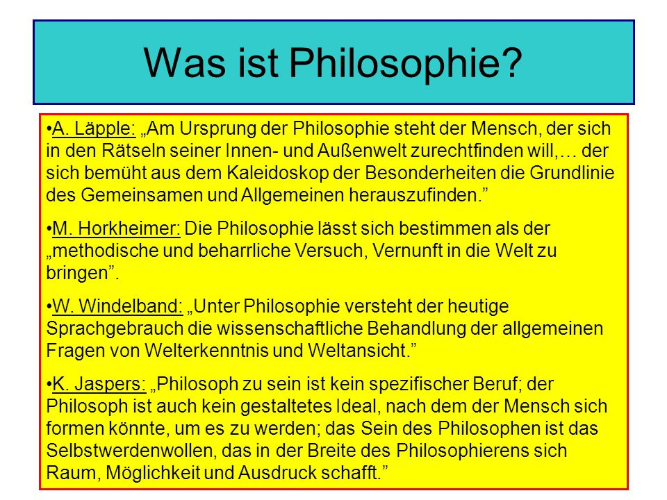 Was ist Philosophie.A.