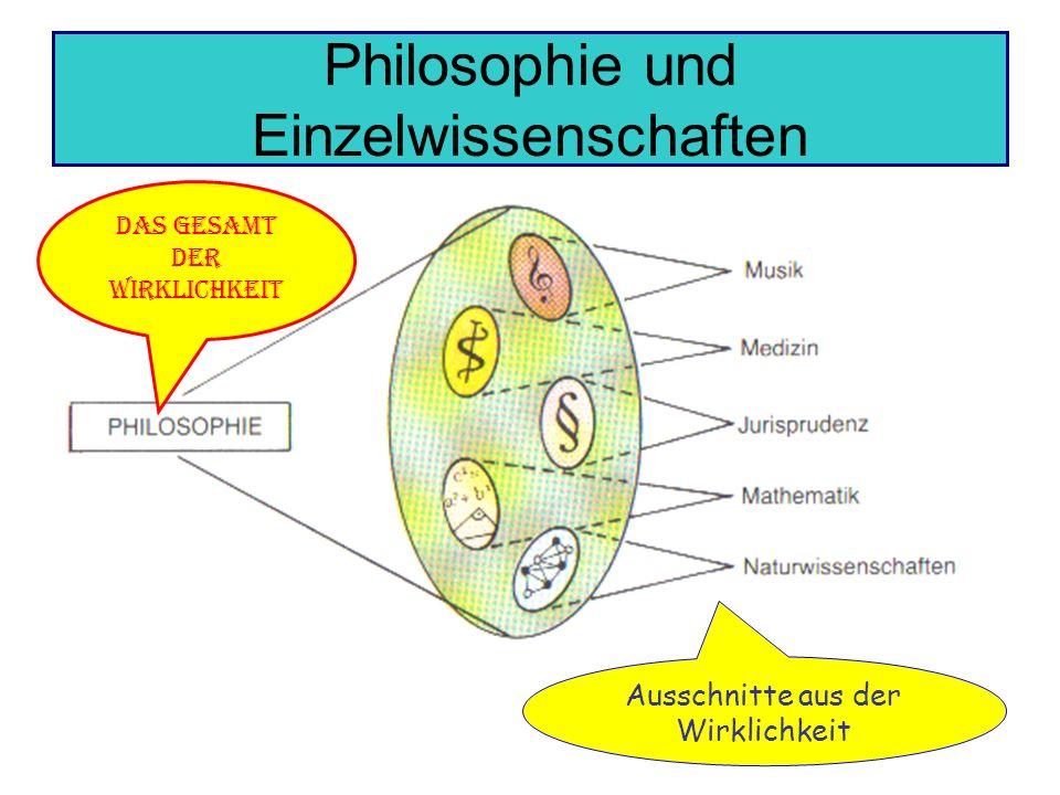 Philosophie und Einzelwissenschaften Das Gesamt der Wirklichkeit Ausschnitte aus der Wirklichkeit