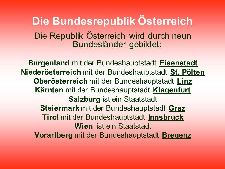 Die Bundesrepublik Österreich Die Republik Österreich wird durch neun Bundesländer gebildet: Burgenland mit der Bundeshauptstadt Eisenstadt Niederöste