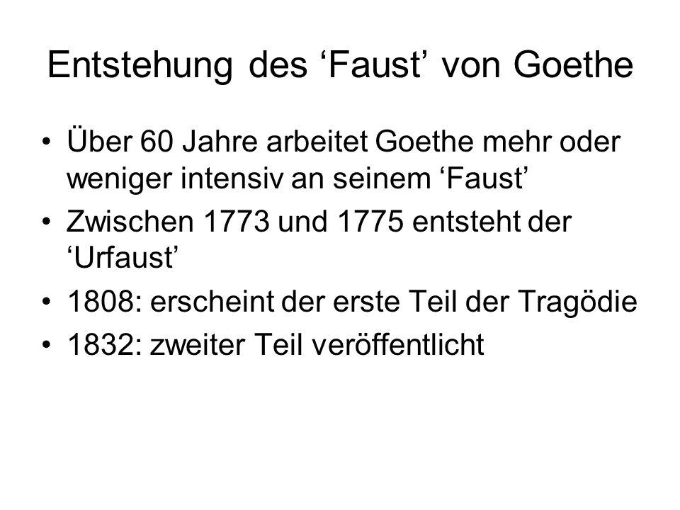 1834: illustrierte Ausgabe der Volksbuchversion von Nikolaus Pfitzer (wichtigste Stationen im Leben von Faust) 1947: berühmtester Roman