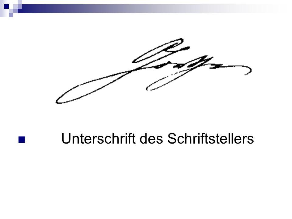 Unterschrift des Schriftstellers