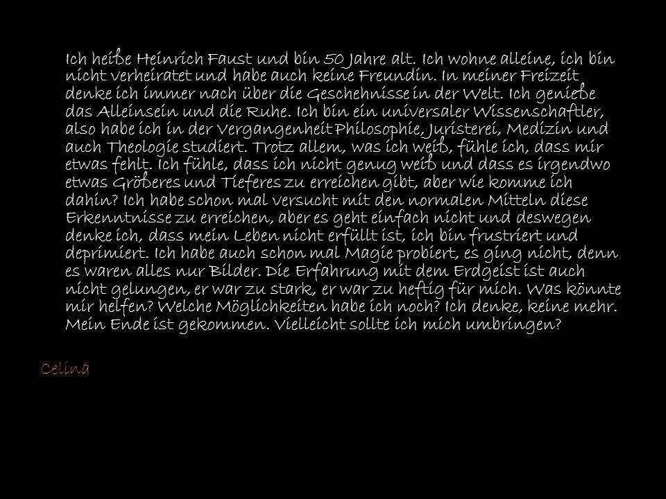 Ich heiße Heinrich Faust und bin 50 Jahre alt. Hobbies habe ich nicht, da ich in meinem ganzen Leben alles Mögliche studiert habe. Ich bin ein Univers