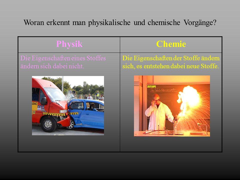 Woran erkennt man physikalische und chemische Vorgänge? PhysikChemie Die Eigenschaften eines Stoffes ändern sich dabei nicht. Die Eigenschaften der St