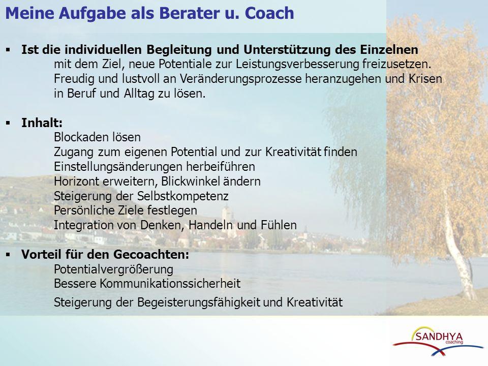 Meine Aufgabe als Berater u. Coach Ist die individuellen Begleitung und Unterstützung des Einzelnen mit dem Ziel, neue Potentiale zur Leistungsverbess