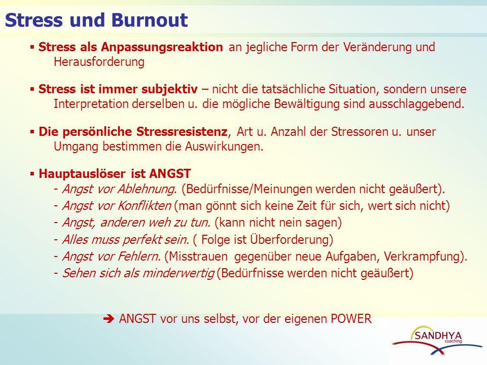 Stress und Burnout Stress als Anpassungsreaktion an jegliche Form der Veränderung und Herausforderung Stress ist immer subjektiv – nicht die tatsächli