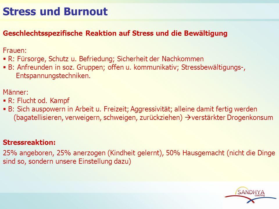 Geschlechtsspezifische Reaktion auf Stress und die Bewältigung Frauen: R: Fürsorge, Schutz u. Befriedung; Sicherheit der Nachkommen B: Anfreunden in s