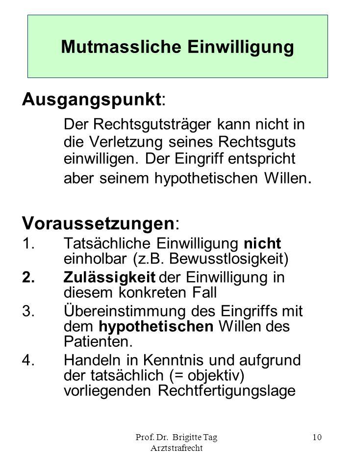 Prof. Dr. Brigitte Tag Arztstrafrecht 10 Mutmassliche Einwilligung Ausgangspunkt: Der Rechtsgutsträger kann nicht in die Verletzung seines Rechtsguts