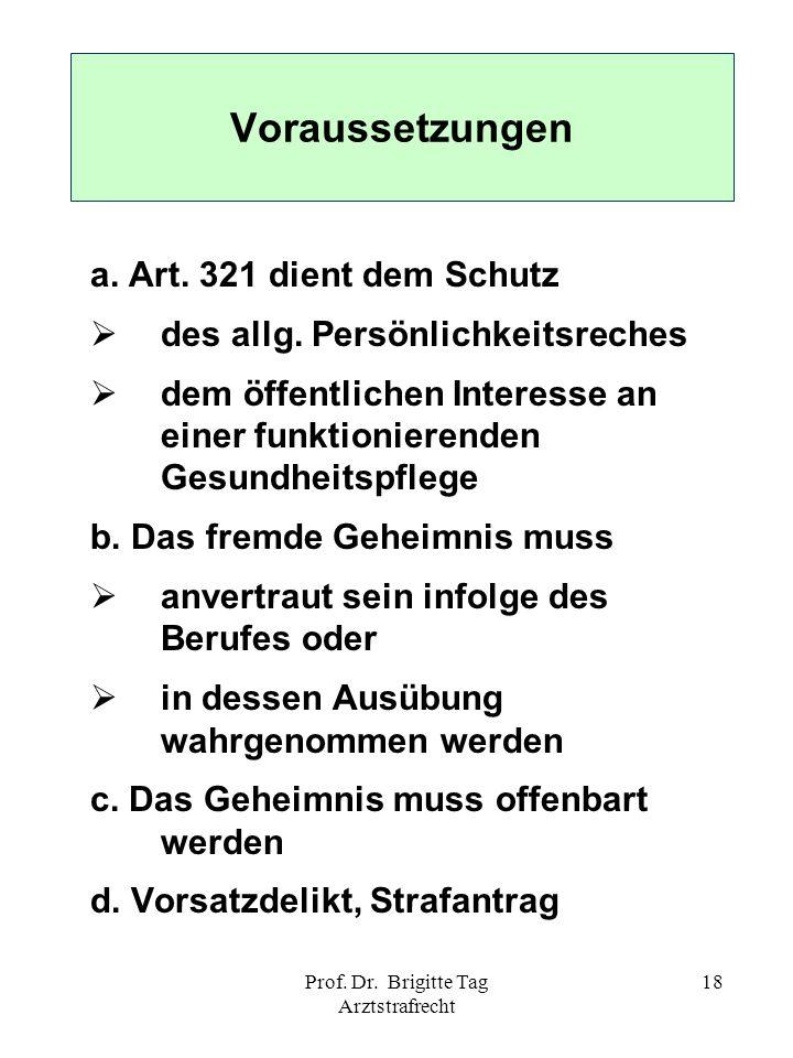 Prof. Dr. Brigitte Tag Arztstrafrecht 18 Voraussetzungen a. Art. 321 dient dem Schutz des allg. Persönlichkeitsreches dem öffentlichen Interesse an ei