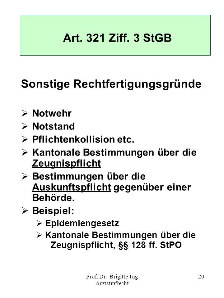 Prof. Dr. Brigitte Tag Arztstrafrecht 20 Sonstige Rechtfertigungsgründe Notwehr Notstand Pflichtenkollision etc. Kantonale Bestimmungen über die Zeugn