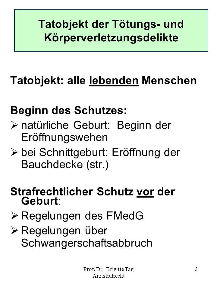 Prof. Dr. Brigitte Tag Arztstrafrecht 3 Tatobjekt der Tötungs- und Körperverletzungsdelikte Tatobjekt: alle lebenden Menschen Beginn des Schutzes: nat