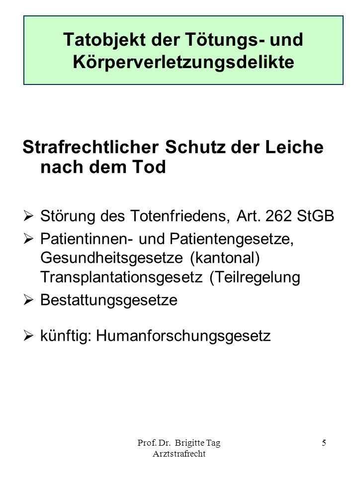 Prof. Dr. Brigitte Tag Arztstrafrecht 5 Tatobjekt der Tötungs- und Körperverletzungsdelikte Strafrechtlicher Schutz der Leiche nach dem Tod Störung de